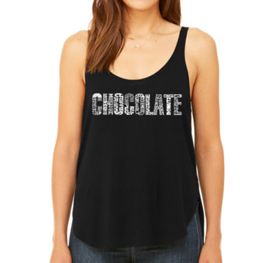 Los Angeles Pop Art Women's Premium Word Art Flowy Tank Top - Different foods made with chocolate