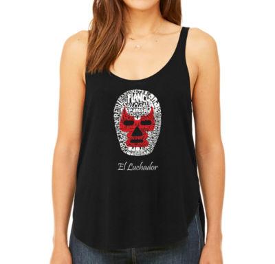 Los Angeles Pop Art Women's Premium Word Art Flowy Tank Top - Mexican Wrestling Mask
