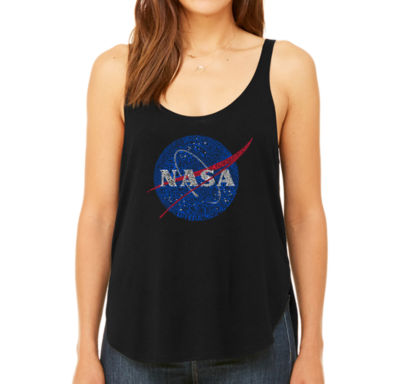 Los Angeles Pop Art Women's Premium Word Art Flowy Tank Top - Nasa's Most Notable Missions