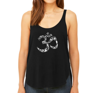 Los Angeles Pop Art Women's Premium Word Art Flowy Tank Top - The Om Symbol Out Of Yoga Poses