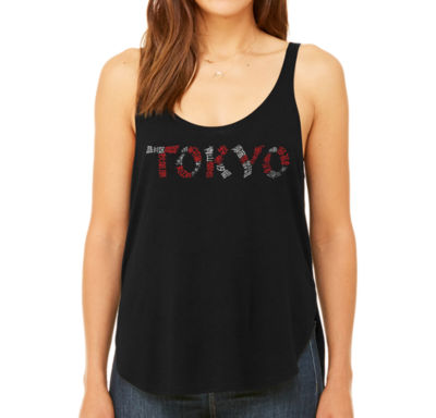 Los Angeles Pop Art Women's Premium Word Art Flowy Tank Top - The Neighborhoods Of Tokyo