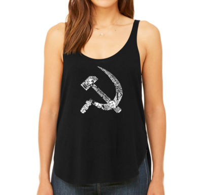 Los Angeles Pop Art Women's Premium Word Art Flowy Tank Top - Soviet Hammer And Sickle