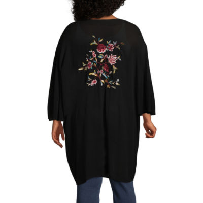 Boutique + Long Sleeve Floral Embroidered Kimono - Plus