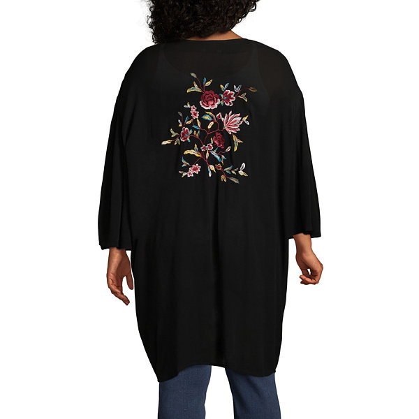 Boutique + Short Sleeve Floral Embroidered Kimono - Plus