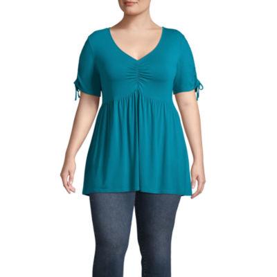 Boutique + Short Sleeve Babydoll Knit Blouse - Plus