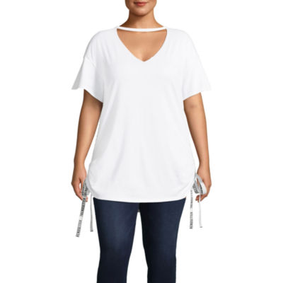 Project Runway Short Sleeve Round Neck T-Shirt-Womens Plus