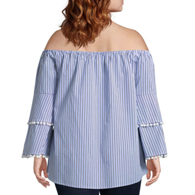 Belle + Sky Off The Shoulder Long Sleeve Woven Blouse-Plus