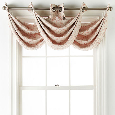 Liz Claiborne Anza Grommet-Top Waterfall Valance, One Size , Red