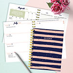 Tf Publishing Navy And Pink Stripes Medium Weekly Monthly Planner