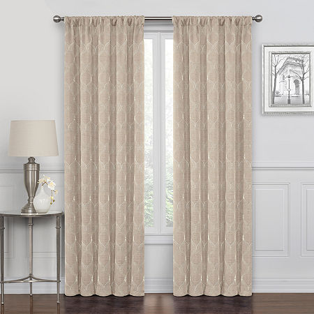 Maxx Blackout Prescott Embroidered 100% Blackout Rod-Pocket Single Curtain Panel, One Size , Brown