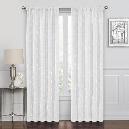 Maxx Blackout Prescott Embroidered 100% Blackout Rod-Pocket Single Curtain Panel, One Size , White