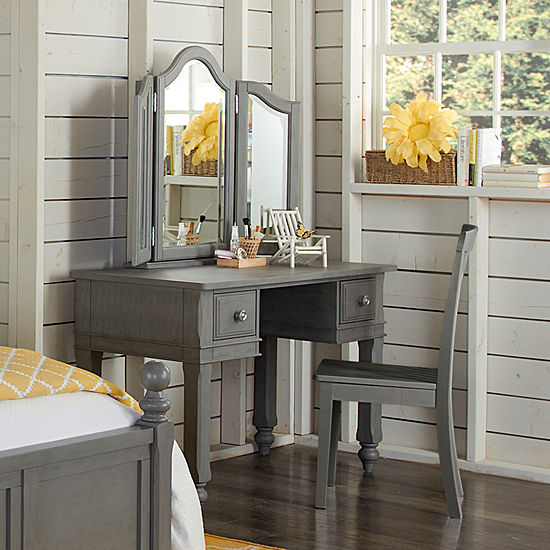 Lake House Desk with Mirror and Chair