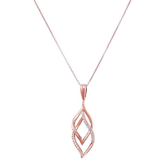 Womens 1/10 CT. T.W. Genuine Diamond 10K Rose Gold Pendant