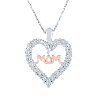 Womens 1/10 CT. T.W. Genuine Diamond 14K Rose Gold Over Silver Sterling Silver Heart Pendant Necklace