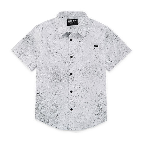 Zoo York Boys Short Sleeve Button-Front Shirt Big Kid Husky