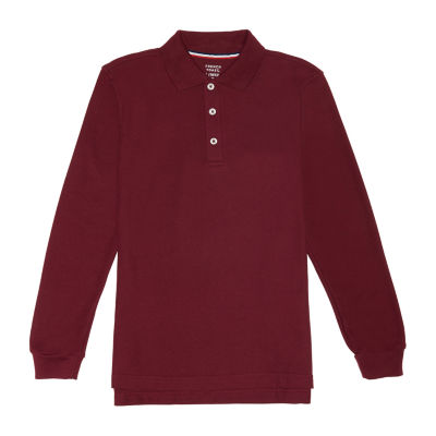 French Toast Long Sleeve Pique Polo - Boys Big Kid