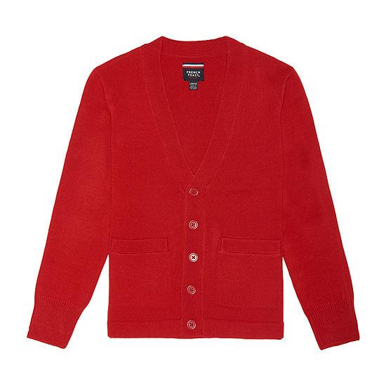French Toast Boys V Neck Long Sleeve Button Cardigan Preschool / Big Kid
