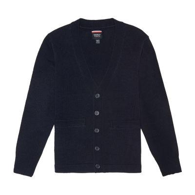 French Toast Boys V Neck Long Sleeve Button Cardigan Preschool / Big Kid Husky
