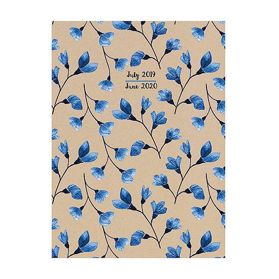 Tf Publishing Kraft Blue Floral Medium Monthly Planner