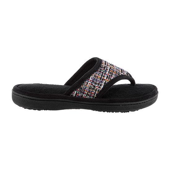 Isotoner Tweed Thong Womens Slip-On Slippers