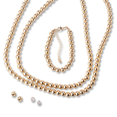Mixit Dyed Simulated Pearl Silver Tone Jewelry Set
