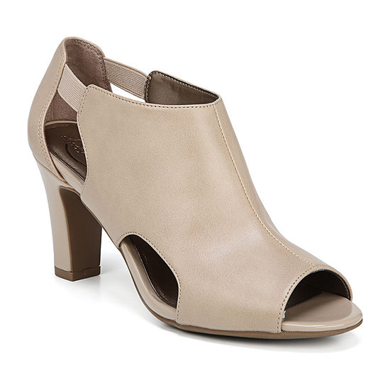 Lifestride Womens Cala Pull-on Peep Toe Block Heel Pumps