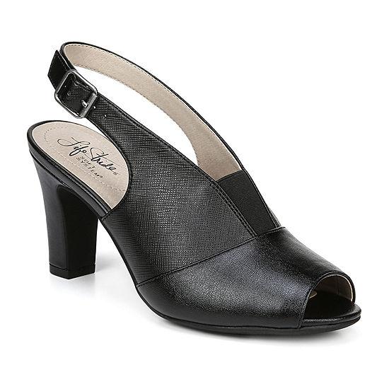Lifestride Womens Carine Peep Toe Block Heel Pumps