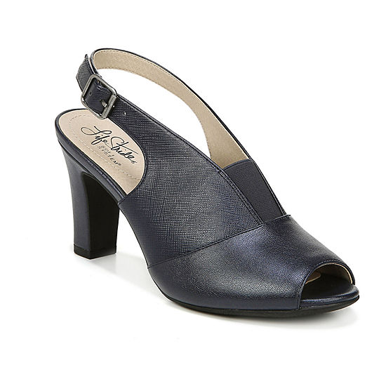 Lifestride Womens Carine Peep Toe Block Heel Pumps