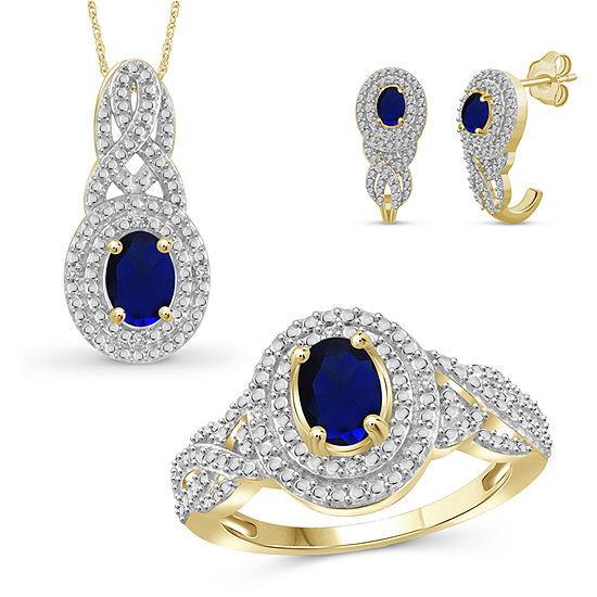 Diamond Accent Genuine Blue Sapphire 14K Gold Over Silver 3-pc. Jewelry Set