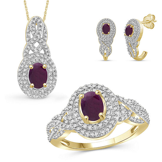 Diamond Accent Lead Glass-Filled Red Ruby 14K Gold Over Silver 3-pc. Jewelry Set