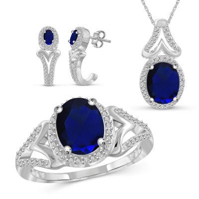 Diamond Accent Genuine Blue Sapphire 3-pc. Jewelry Set