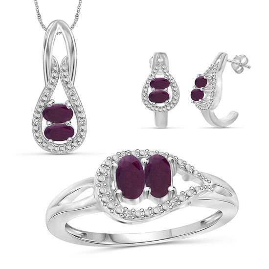 Diamond Accent Lead Glass Filled Red Ruby Sterling Silver 3 Pc Jewelry Set