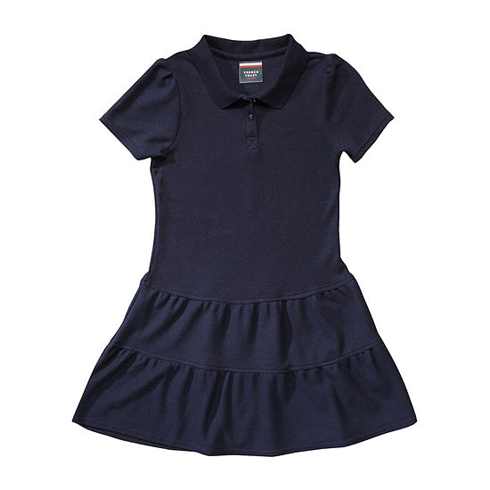 French Toast Girls Short Sleeve Fitted Sleeve Shirt Dress