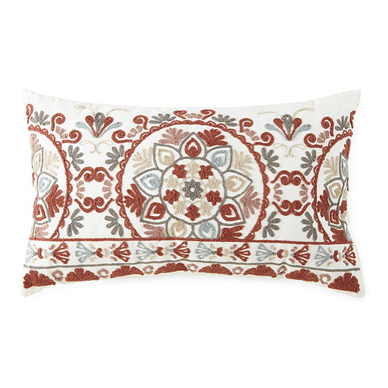 JCPenney Home Embroidered Medallion Rectangular Throw Pillow