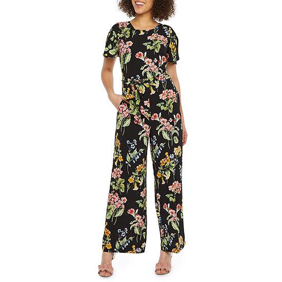 Nicole Miller Short Sleeve Floral Jumpsuit