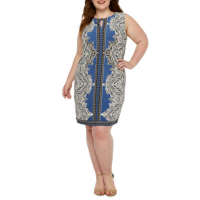 Studio 1 Sleeveless Puff Print Shift Dress-Plus