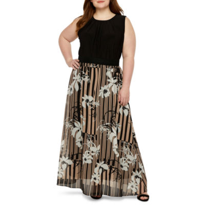 Danny & Nicole Sleeveless Floral Maxi Dress-Plus