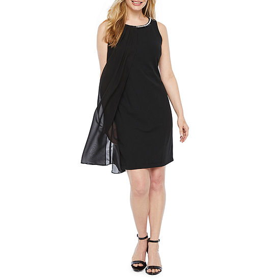 S. L. Fashions Sleeveless Beaded Sheath Dress-Petite