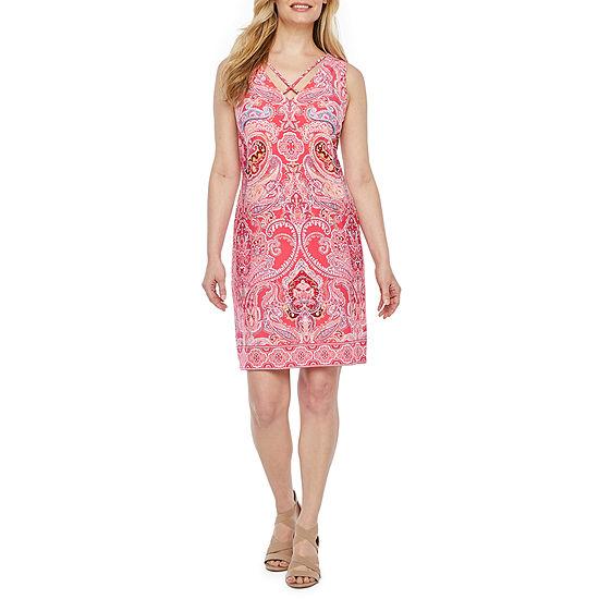 R & K Originals Sleeveless Paisley Puff Print A-Line Dress-Petite
