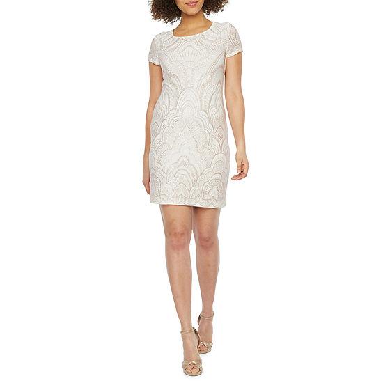 Blu Sage Short Sleeve Glitter Knit Sheath Dress