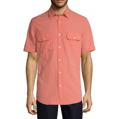 St. John's Bay Mens Short Sleeve Checked Button-Front Shirt