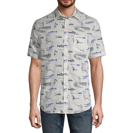St Johns Bay Mens Short Sleeve Button Front Shirt