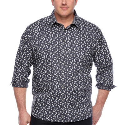 Claiborne Mens Long Sleeve Floral Button-Front Shirt Big and Tall