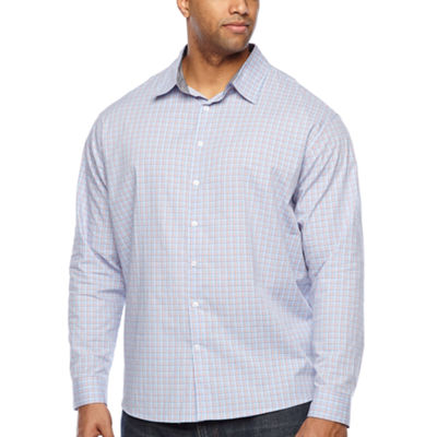 Claiborne Mens Long Sleeve Plaid Button-Front Shirt Big and Tall