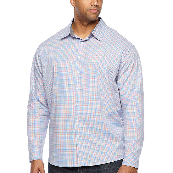 Claiborne Big and Tall Mens Long Sleeve Plaid Button-Front Shirt