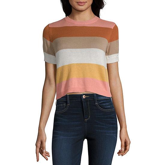 Arizona Womens Round Neck Short Sleeve Striped Pullover Sweater-Juniors