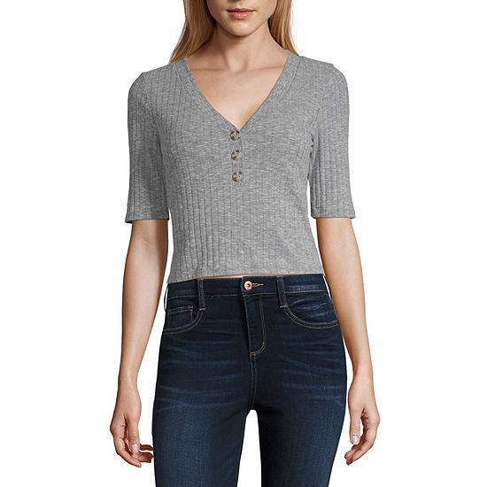 Arizona-Womens Y Neck Short Sleeve T-Shirt Juniors