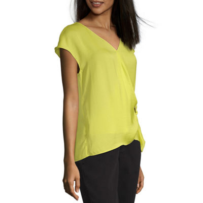 Worthington Womens V Neck Sleeveless Wrap Shirt