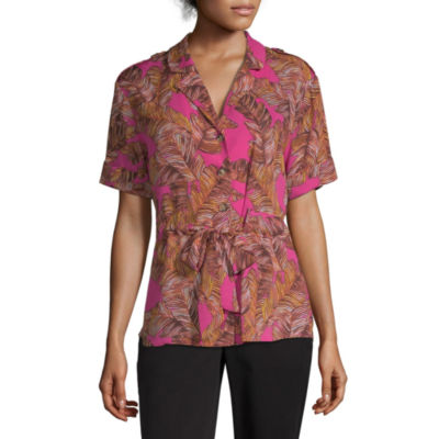 Worthington Womens Y Neck Short Sleeve Blouse