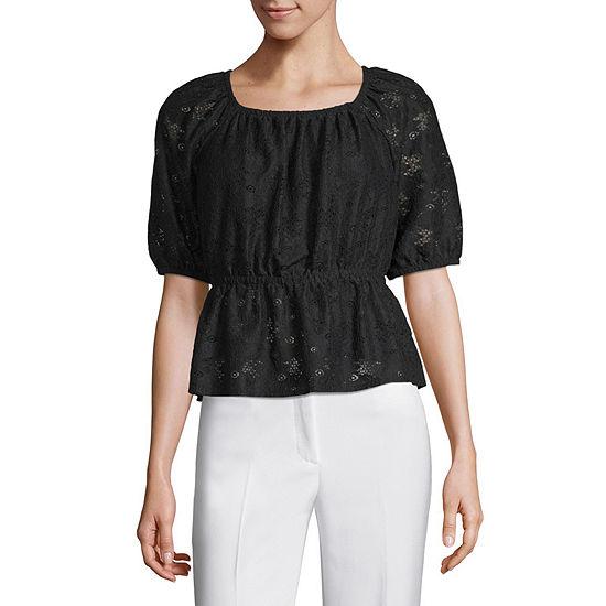 Worthington Womens Square Neck Short Sleeve Knit Lace Blouse